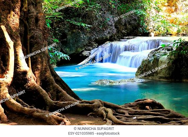 Beautiful Waterfall at Erawan National Park in Kanchanaburi ,Thailand