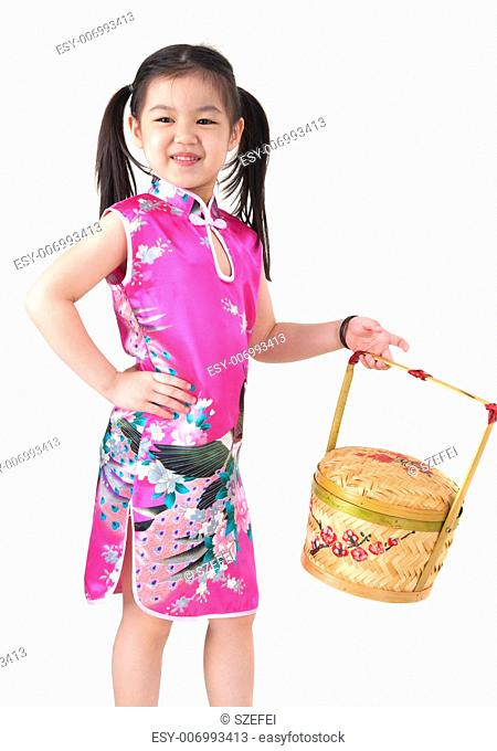 Oriental girl in chinese red cheongsam dress, celebrating Chinese new year, isolated on white background