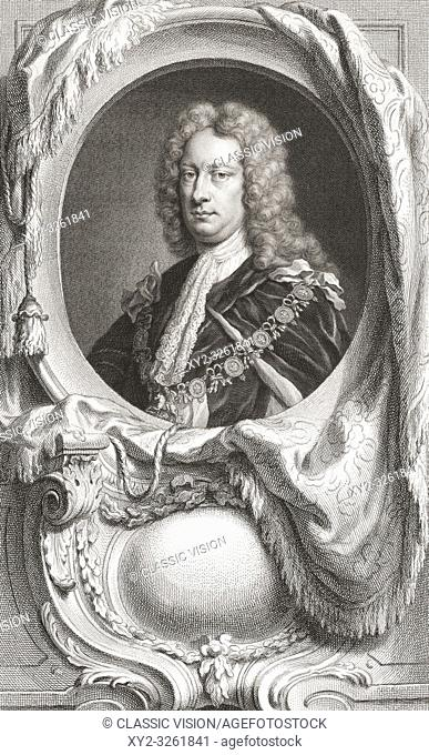Charles Spencer, 3rd Earl of Sunderland, 1675 - 1722. Statesman also known as Lord Spencer. From the 1813 edition of The Heads of Illustrious Persons of Great...