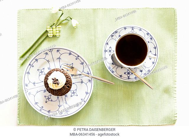 Chocolate muffin on a plate and a cup of coffee, small white blossoms