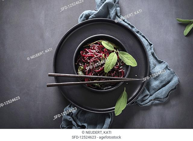 Spiralised beetroot in sage butter with sesame seeds (vegan)