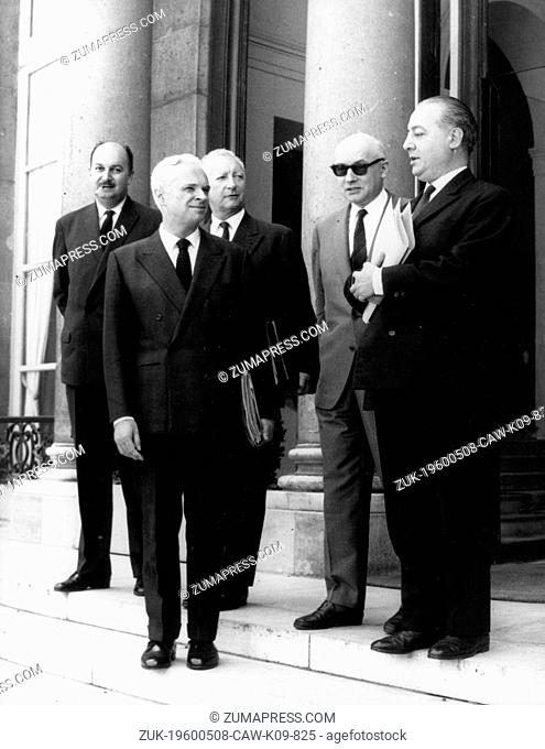 June 9, 1966 - Paris, France - The French council of ministeries meet for a conference before President De Gaulle travels