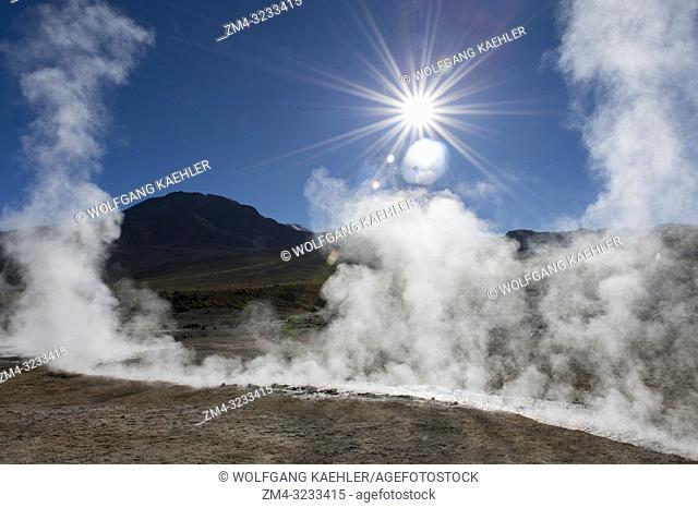 Steam rising from hot springs at El Tatio Geysers geothermic basin near San Pedro de Atacama in the Atacama Desert, northern Chile