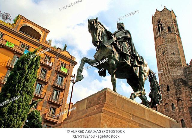 equestrian statue of Ramón Berenguer III, 1910, sculptor Josep Llimona, Barcelona, Catalonia, Spain