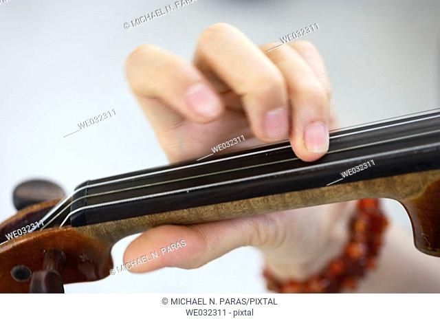 Woman's fingers on neck of violin