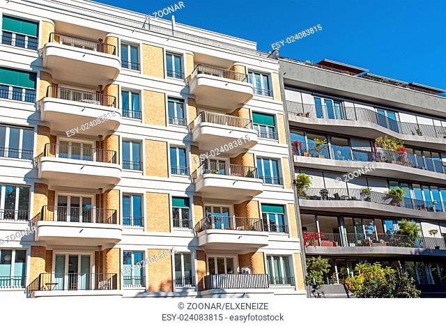 Modern multi-family residences seen in Berlin, Germany