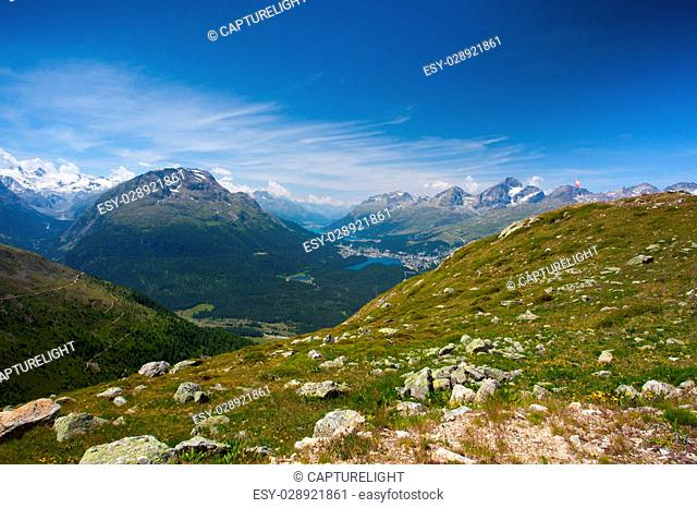 Panorama of the Upper Engadine from Muottas Muragl, Switzerland