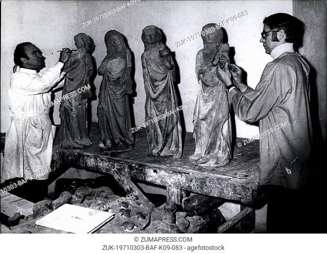 Mar. 03, 1971 - Restoration for the Durer-Year 'The wise and the unwise maids' are being restored in the workshop of Gunter Lenz from Munich/Germany (Gunter...