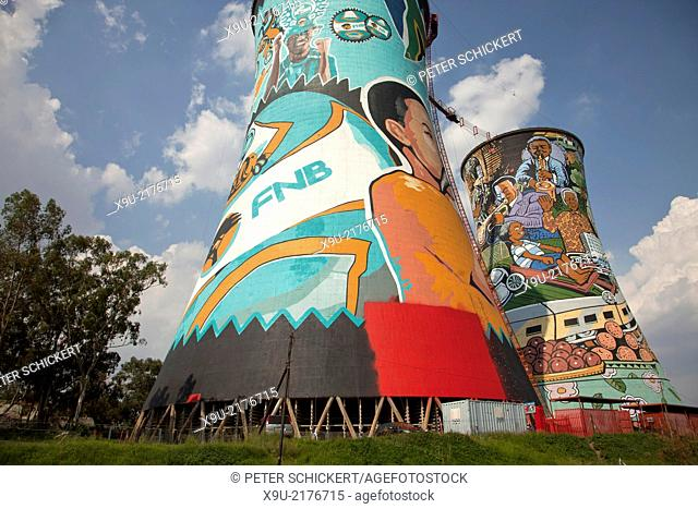 The brightly painted cooling towers of the Orlando Power Station, Soweto, Johannesburg, Gauteng, South Africa, Africa
