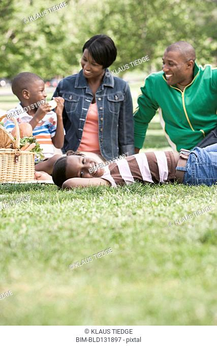 African American family having picnic in park