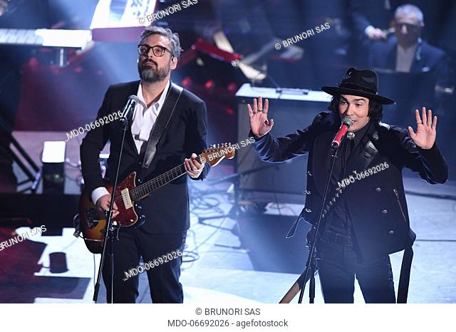 The Zen Circus, Brunori Sas at the fourth evening of the 69th Sanremo Music Festival. Sanremo (Italy), February 8th, 2019