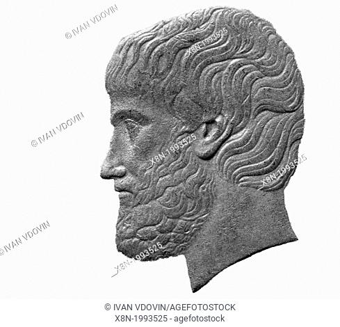Portrait of Aristotle from 5 Drachmes coin, Greece, 1984, on white background