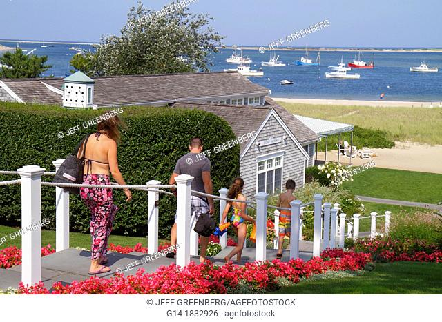 Massachusetts, Cape Cod, Chatham, Shore Road, Chatham Bars Inn, hotel, resort, Aunt Lydia's Cove, Atlantic Ocean, boats, girl, boy, man, woman, father, mother