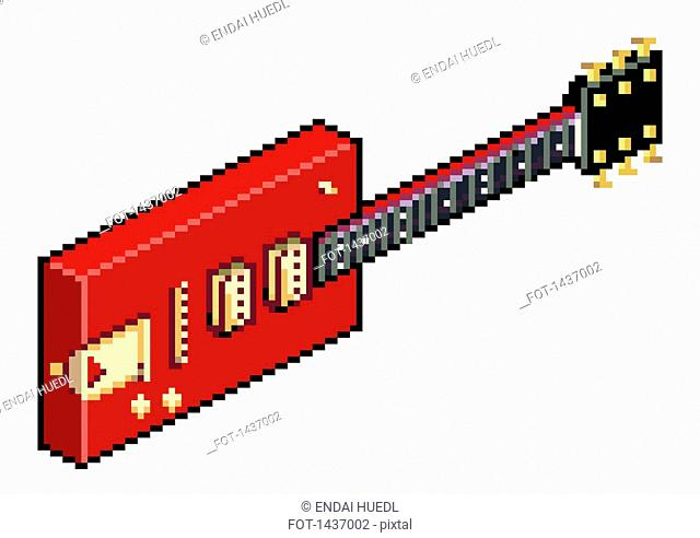 Illustrative image of pixelated red electric guitar against white background