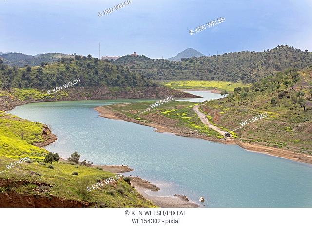 near Almogia, Malaga Province, Andalusia, southern Spain. Campanillas River where it enters the Casasola dam