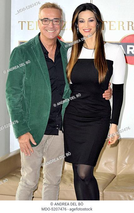 Actor Massimo Ghini and actress Manuela Arcuri at the presentation of the film Non si ruba a casa dei ladri. Milan, Italy. 2nd November 2016