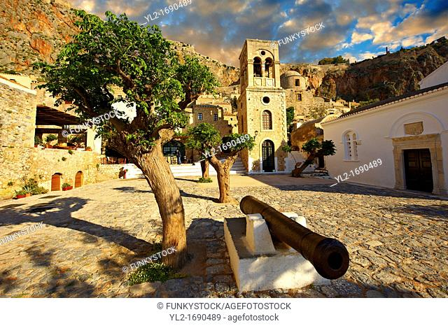 Monemvasia  eµßasa , main square of the lower town with the bell tower of the Byzantine IGreek Orthodox Church of Christ Elkomenos  Peloponnese, Greece