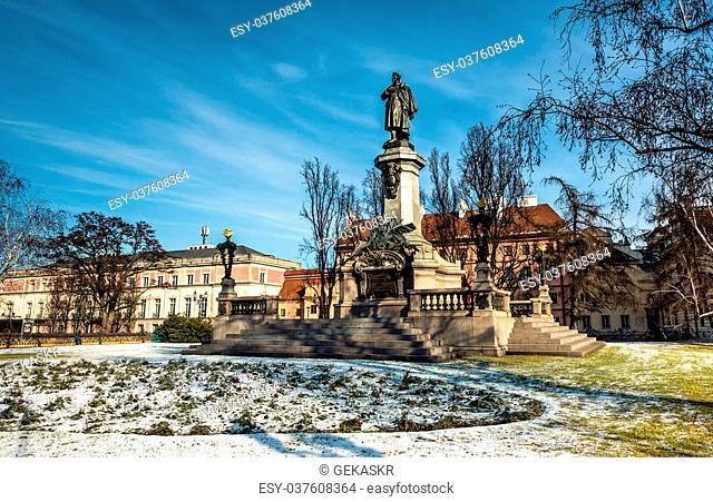 Monument of the most famous Polish poet - Adam Mickiewicz at Krakowskie Przedmiescie Street in Warsaw, Poland
