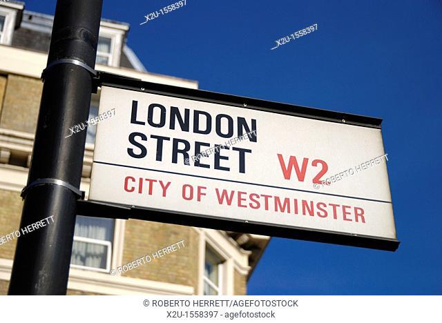 London Street W2 City of Westminster street sign, Paddington, London, England