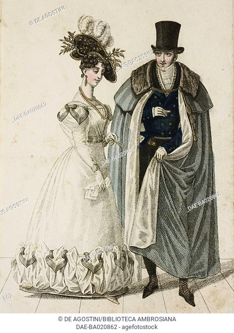 Woman wearing a white dress with hat adorned with feathers, man wearing a top hat and cloak, plate 6, French Fashions, Il Corriere delle Dame, 1827