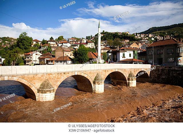 miljacka river and seher cehaja bridge, bascarsija, sarajevo, bosnia and herzegovina, europe