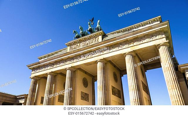 brandenburger tor berlin with very blue summer sky