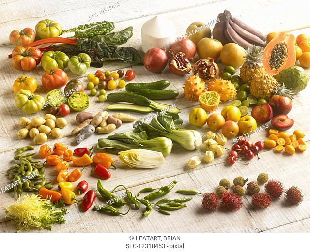 Various exotic fruits and vegetables