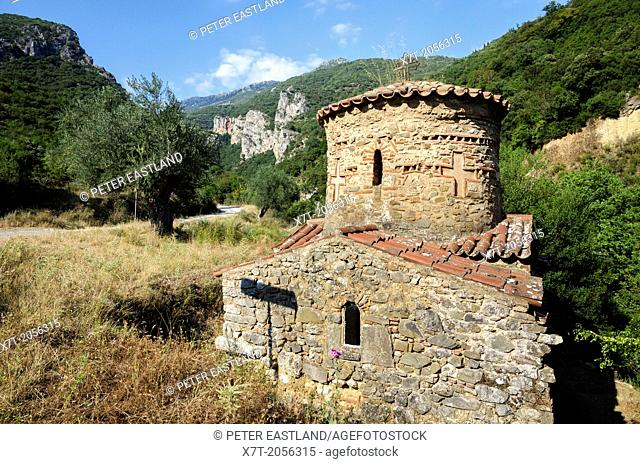 The little Byzantine church of Agios Andreas, set deep in the Lousios Gorge by Ancient Gortys. Between Dimitsana and Stemnitsa in Arcadia, central Peloponnese