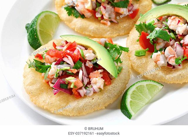 ceviche(raw fish marinated in citrus juice) on tostadas(deep fried tortillas)