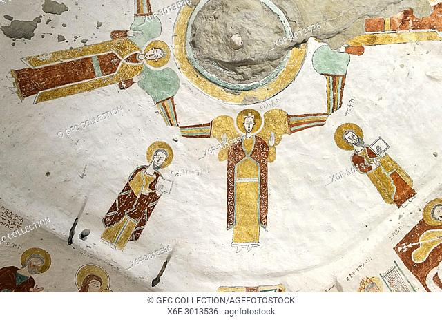 Ceiling painting depicting a circle of Archangels and Evangelists, fresco in the interior of the rock-hewn church Daniel Qorqor, Gheralta region, Tigray