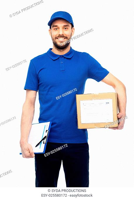delivery service, mail, logistics, people and shipping concept - happy man with parcel box and clipboard