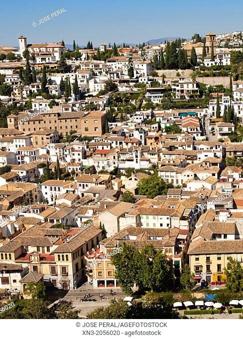 El Albayzín district, also Albaicín or El Albaicín from Alhambra, Granada, Andalusia, Spain, Europe