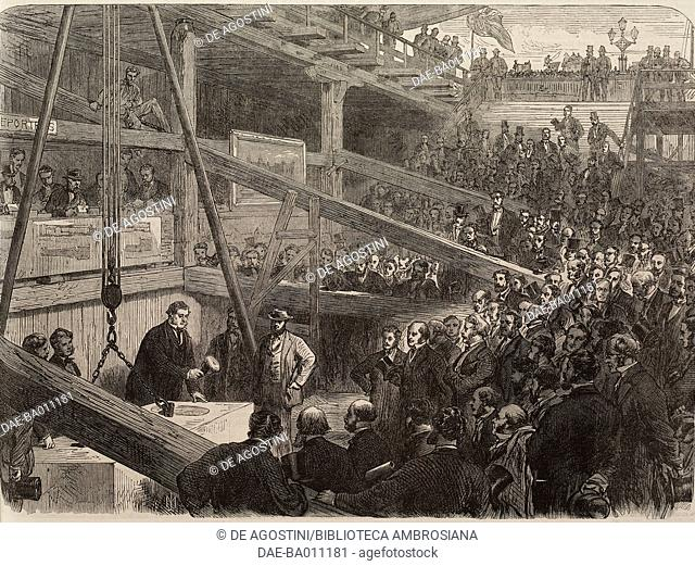 Laying the foundation stone of the southern embankment of the Thames, above Westminster bridge, London, United Kingdom, illustration from the magazine The...