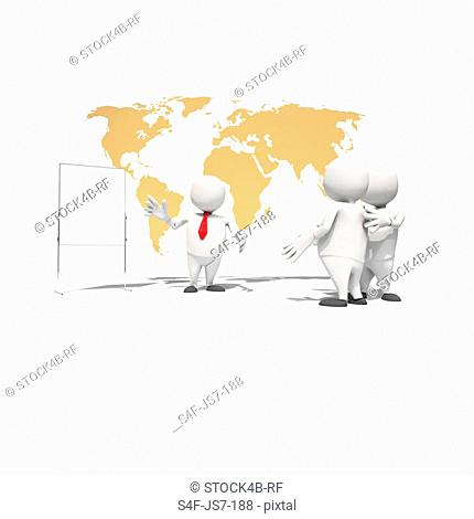 Anthropomorphic businessman conducting a presentation in front of world map, CGI