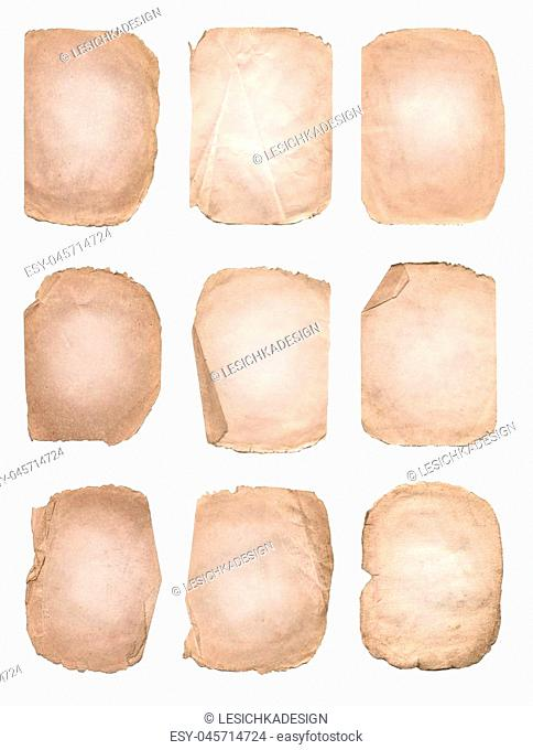 Collection of various old paper. Old vintage paper texture set. Aged and worn paper set. Old paper sheets isolated on white