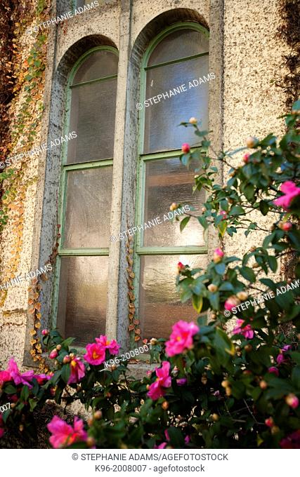 Old double window at the Claremont colleges in Upland, California
