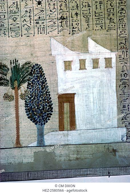 Egyptian image of a white-plastered brick house with a wooden door and high window. The roof projections are vents to catch the wind