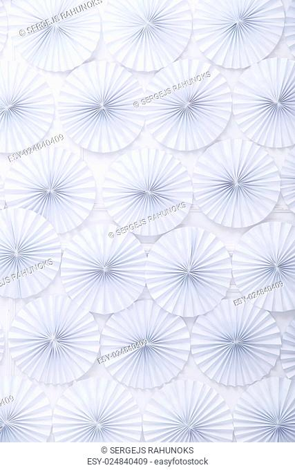 Origami, concept. White circles made of paper
