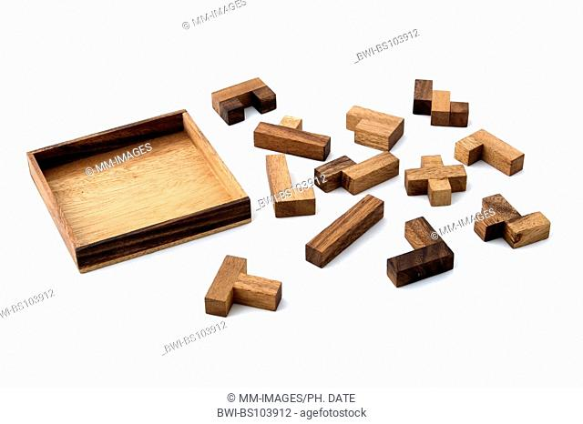 wooden puzzle ready to be solved
