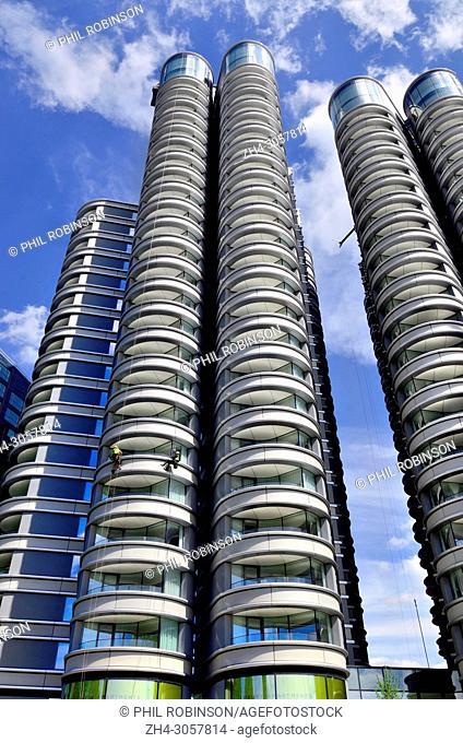 London,England, UK. 'The Corniche' apartments on Albert Embankment, Vauxhall