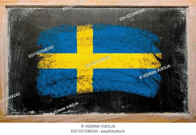 flag of Sweden on blackboard painted with chalk