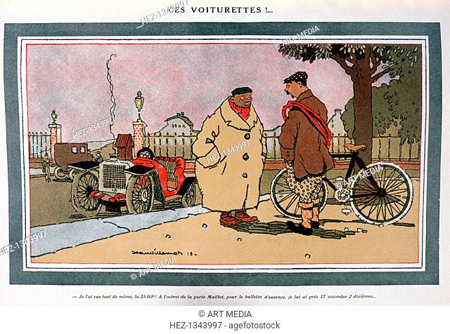 'Ces voiturettes!', French motoring cartoon', 1913. Steam rising from the radiator cap of a car as its driver chats to a cyclist