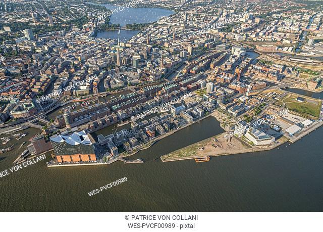 Germany, Hamburg, aerial view of the city with Elbphilharmonie