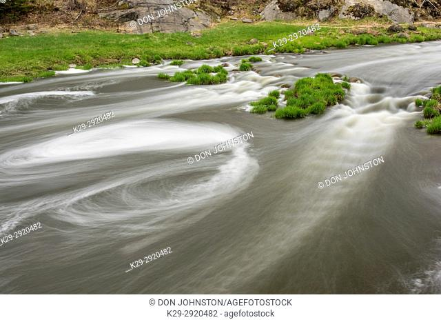 Junction Creek rapids in early spring, Greater Sudbury, Ontario, Canada