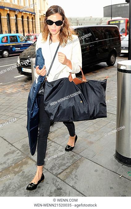 Alexa Chung arrives at St Pancras International railway station to catch the Eurostar to Paris Featuring: Alexa Chung Where: London