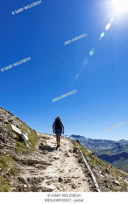 Austria, Salzburg State, Region Grossglockner, hiker on trail to Edelweissspitze, High Tauern National Park