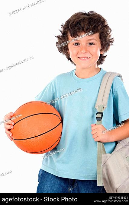 Blond boy with a basketball