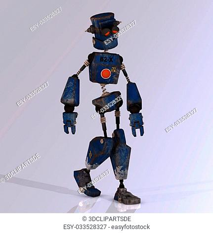 Futuristic cartoon roboter making funny movesImage contains a Clipping Path