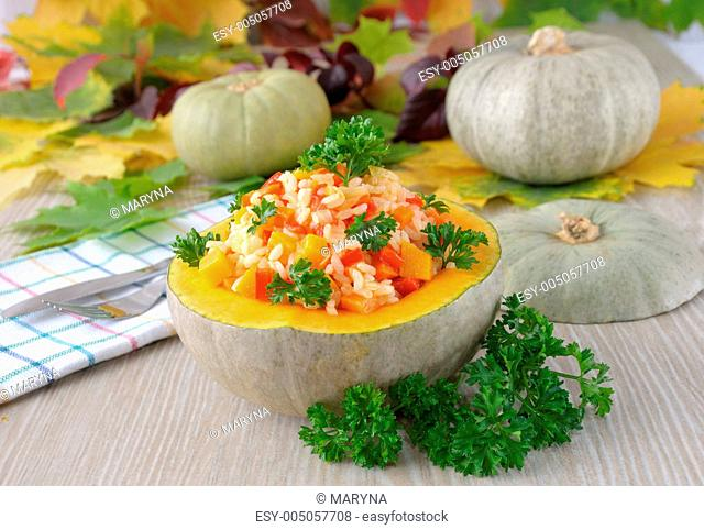 porridge of rice and vegetables with pumpkin