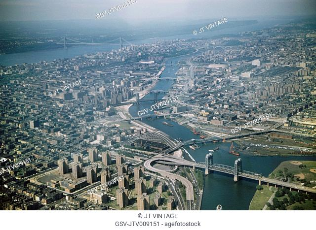 High Angle View of Queens, Bronx and Manhattan, East River and Hudson River, New York City, New York, USA, August 1959
